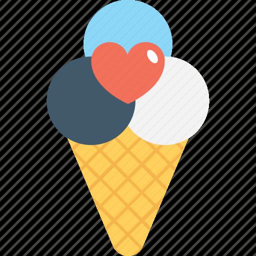 cone, heart, ice cone, ice cream, snow cone icon