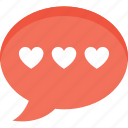 chat bubble, conversation, love chat, message, romantic chat icon