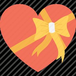 gift, gift box, heart, present, present box icon