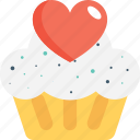 cupcake, dessert, heart, muffin, pie icon
