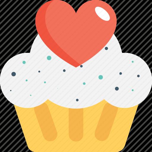 cupcake, dessert, heart, muffin, pie icon