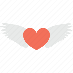 feeling loved, flying heart, heart with wings, love, love in air icon