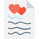 edit, heart, heart sheet, paper, sheet icon