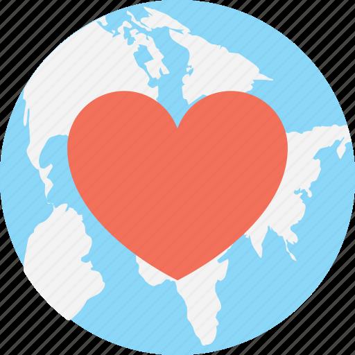 global, globe, heart, world icon