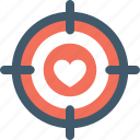 arrow, heart, heartbreak, hurt, love target icon