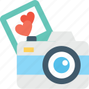 camera, digital camera, heart, loving, photography icon
