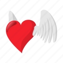 cartoon, heart, love, red, romantic, valentine, wing icon