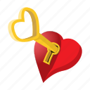 cartoon, heart, key, lock, love, romance, valentine icon