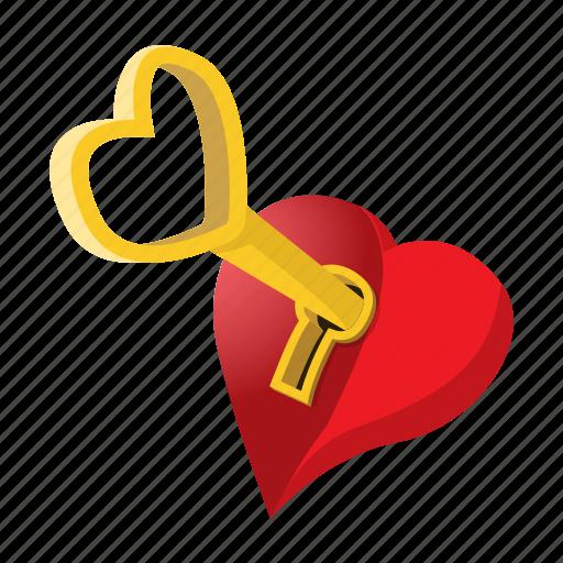 cartoon, heart, key, lock, love, romance, valentine icon