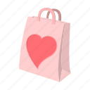 bag, cartoon, gift, heart, paper, red, valentine icon