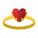 cartoon, heart, love, ring, romance, valentine, wedding icon