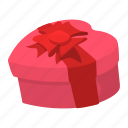 box, cartoon, heart, pink, red, ribbon, valentine icon