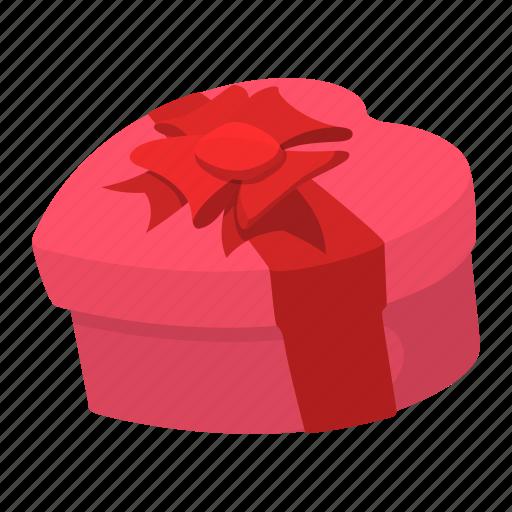 box, cartoon, heart, pink, red, ribbon, valentine icon