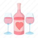 bottle, cartoon, celebration, day, glass, holiday, wine icon