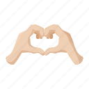 cartoon, finger, hand, heart, love, palm, shape icon