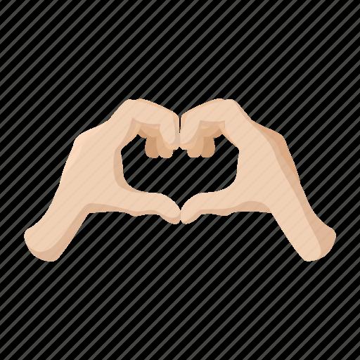 cartoon, finger, hand, heart, love, palm, shape icon
