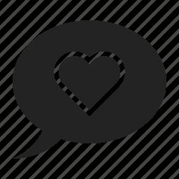 bubble, heart, speech icon