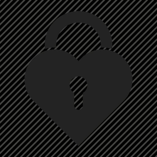 heart, lock, shape icon