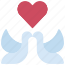 doves, loving, passion, birds, heart