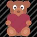 heart, teddy, bear, loving, passion