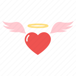 angel, flying, heart, love, wing icon