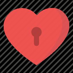 heart, hold, key, lock, love, valentine icon