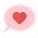 balloon, bubble, heart, love, message, valentine icon