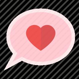 balloon, bubble, heart, love, message, valentine icon