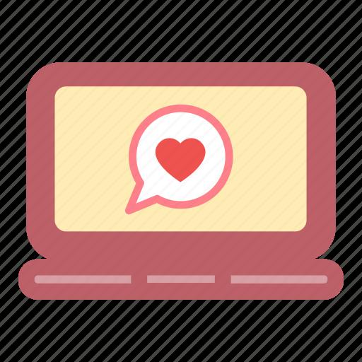 bubble, heart, labtop, love, message icon