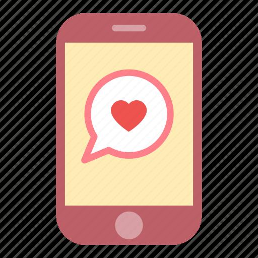 bubble, heart, love, message, smartphone icon