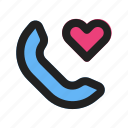 call, cell, communication, heart, love, phone, romance icon
