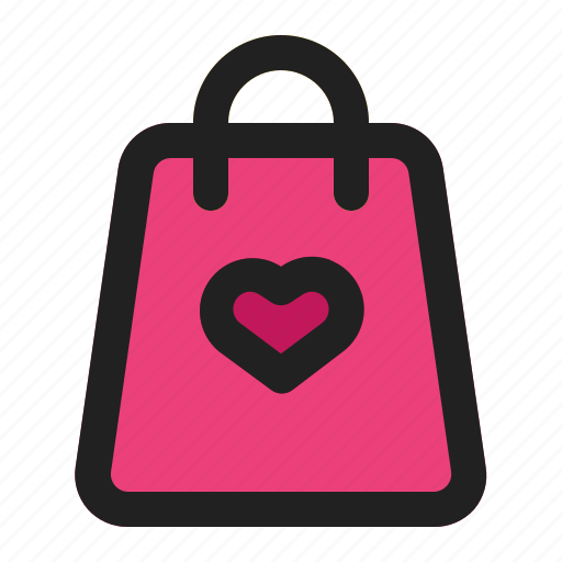 bag, heart, love, romance, shop, shopping, valentine icon