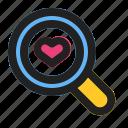 find, heart, love, romance, search, valentine, wedding icon
