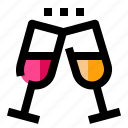 cheers, drink, heart, love, party icon