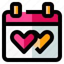 calendar, date, heart, love, schedule icon