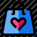 bag, handbag, heart, love, purse icon
