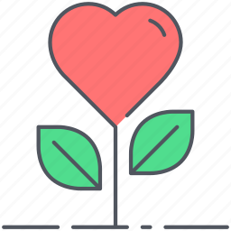 floral, flower, growth, heart, love, romance, valentines icon