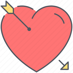 arrow, heart, in love, love, relationship, romance, valentines icon