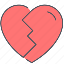 broken, divorse, heart, love, relationship, romance, valentines icon