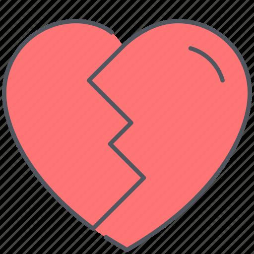 broken, divorse, heart, love, relationship, romance, valentines icon