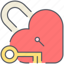 heart, key, love, romance, romantic, unlock, valentines icon