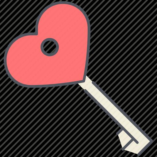heart, key, love, romance, unlock, valentines icon