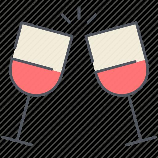 champagne, date, glasses, love, romantic, valentines, wine icon