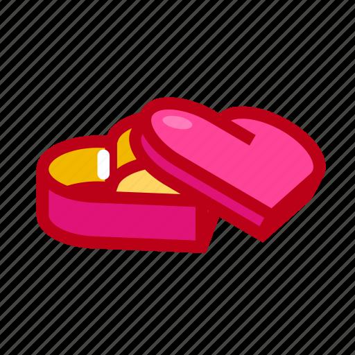 box, gift, heart, love, valentine icon