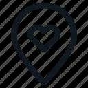 heart, location, love, place, valentine icon