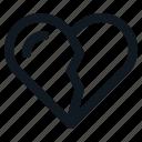 broke, broken, heart, love, valentine icon