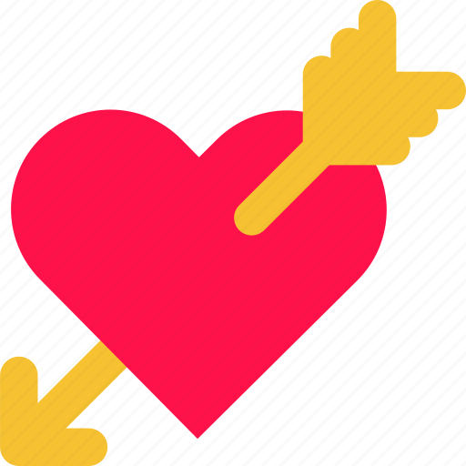arrow, cupid, heart, hit, love, valentine icon
