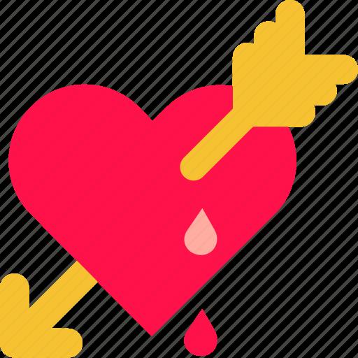 Heart, love, drop, cupid, valentine, blood, arrow icon