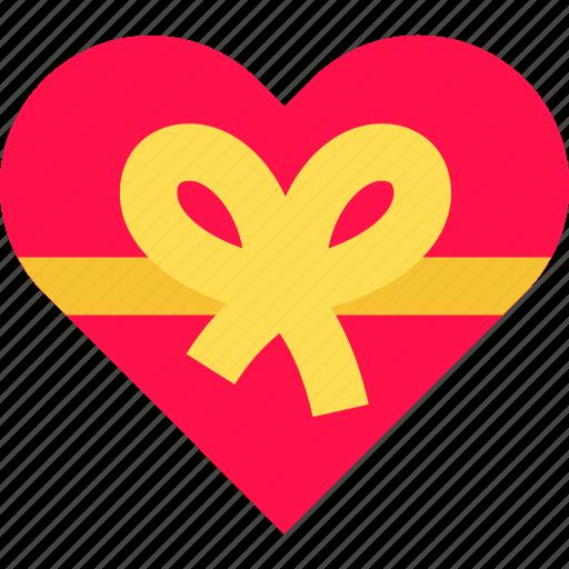 bow, chocolate, gift, heart, love, present, valentine icon