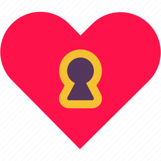 heart, hole, key, lock, love, privacy, security icon